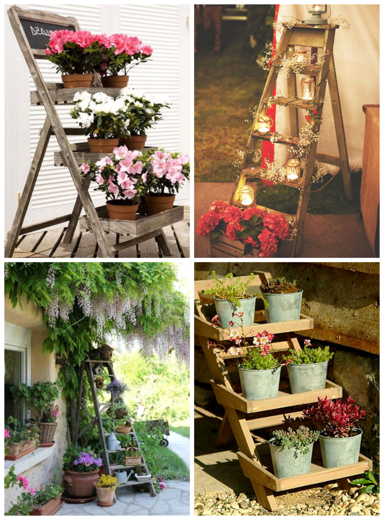 Ideas para decorar tu casa y tu jard n con escaleras de mano for Ideas para decorar jardineras