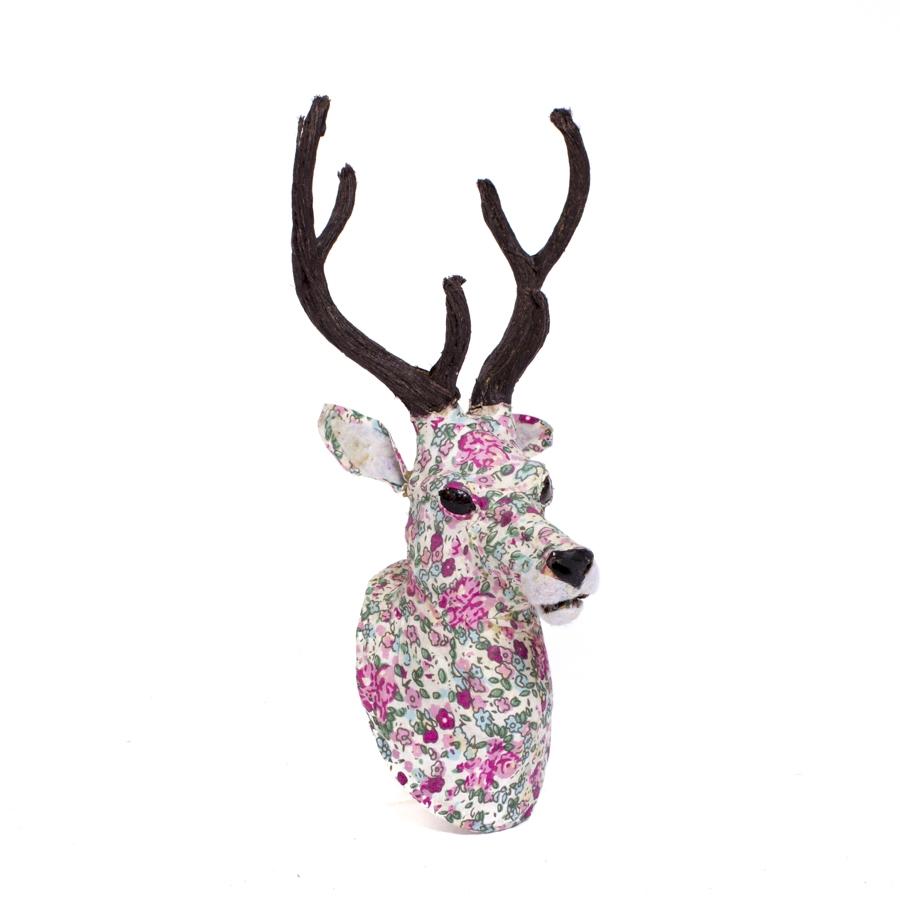Cabeza ciervo flores mon deco shop - Cabezas animales tela ...