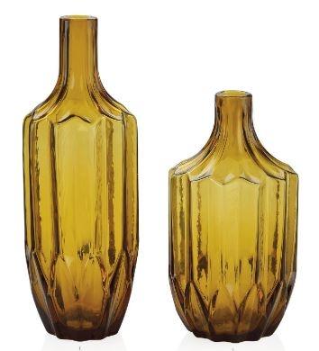 Florero vidrio ambar