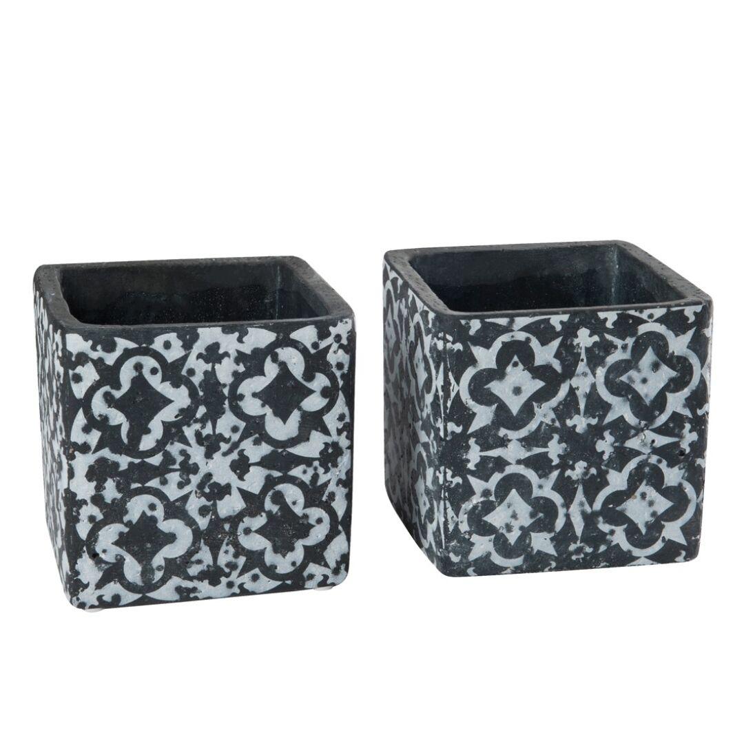 Maceta cuadrada cerámica blanca y negra