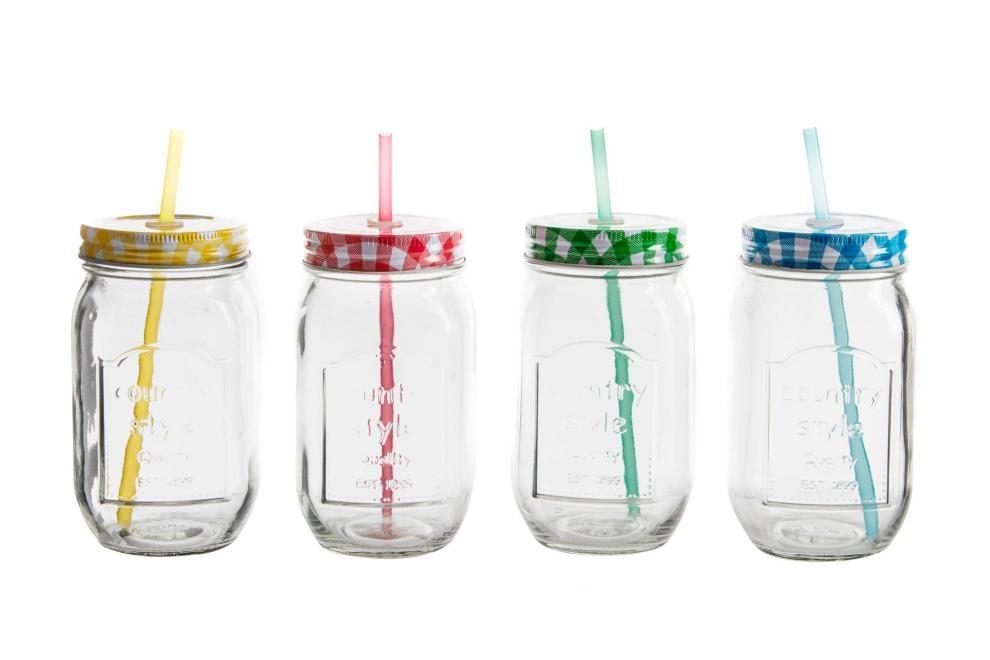 Vaso de cristal con tapa de colores y pajita for Vasos cristal colores