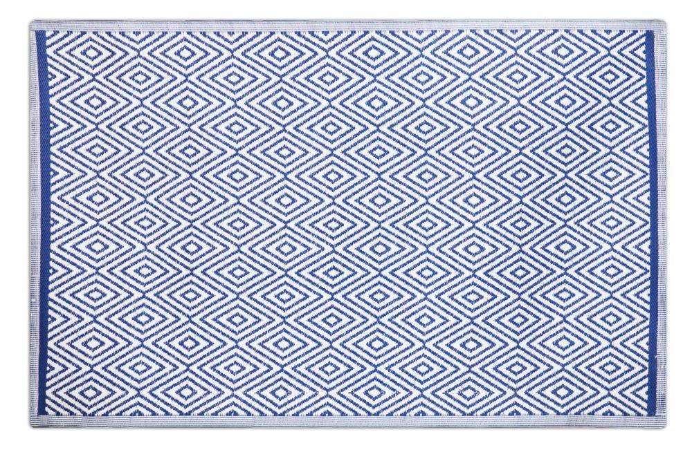 alfombra exterior de rombos azul y blanca polipropileno.