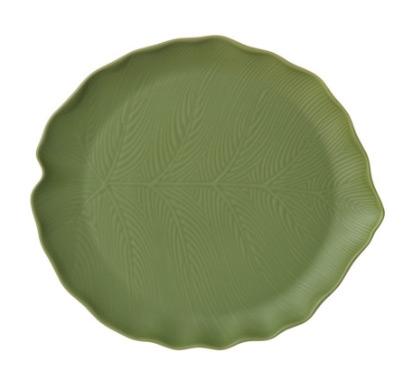 Plato hoja cerámica verde G