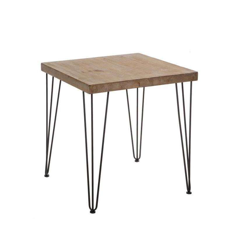 Mesa madera patas hierro for Mesas de comedor de metal y madera