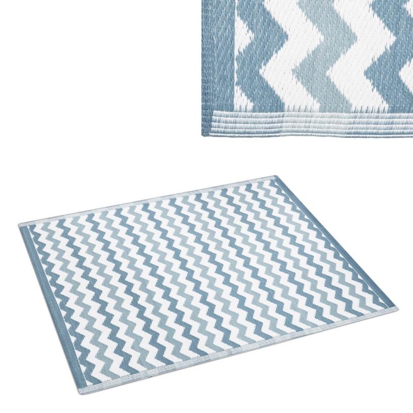 Alfombra pl stica para exterior zig zag blanca y azul - Alfombras de exterior ...