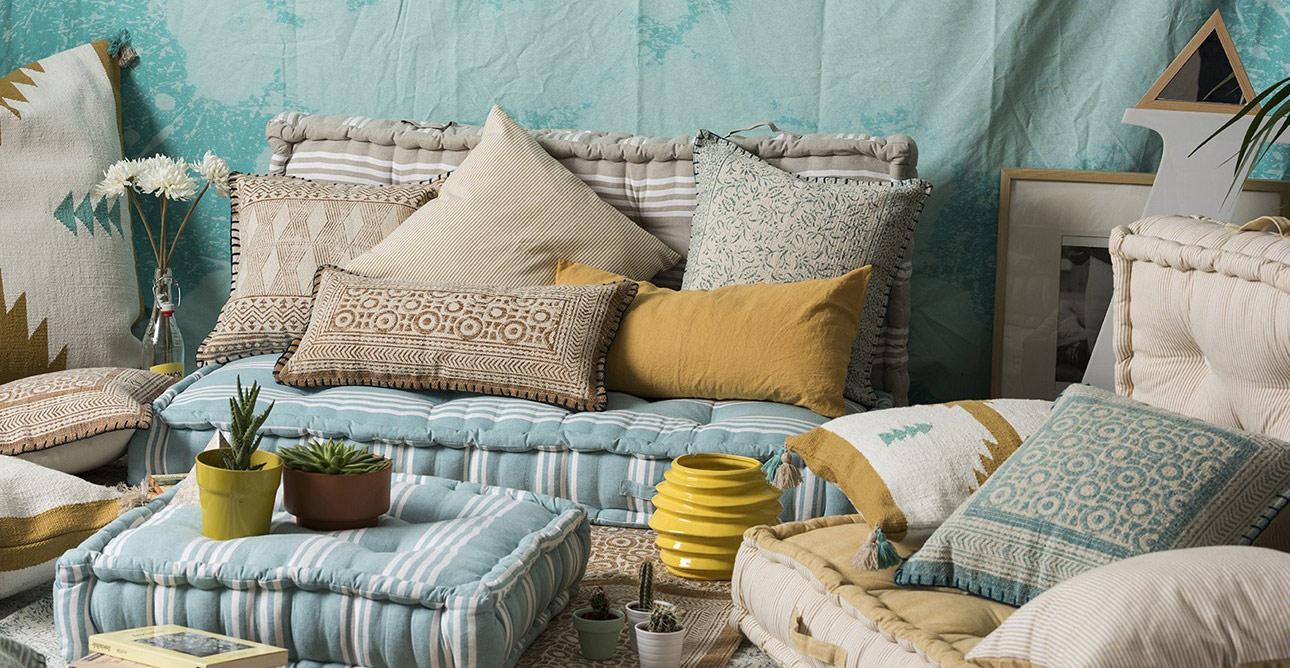 Textiles tnicos y fibras naturales para terraza y jard n for Cojines jardin