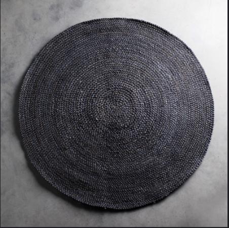 Alfombra de yute redonda color gris oscuro for Alfombra redonda gris