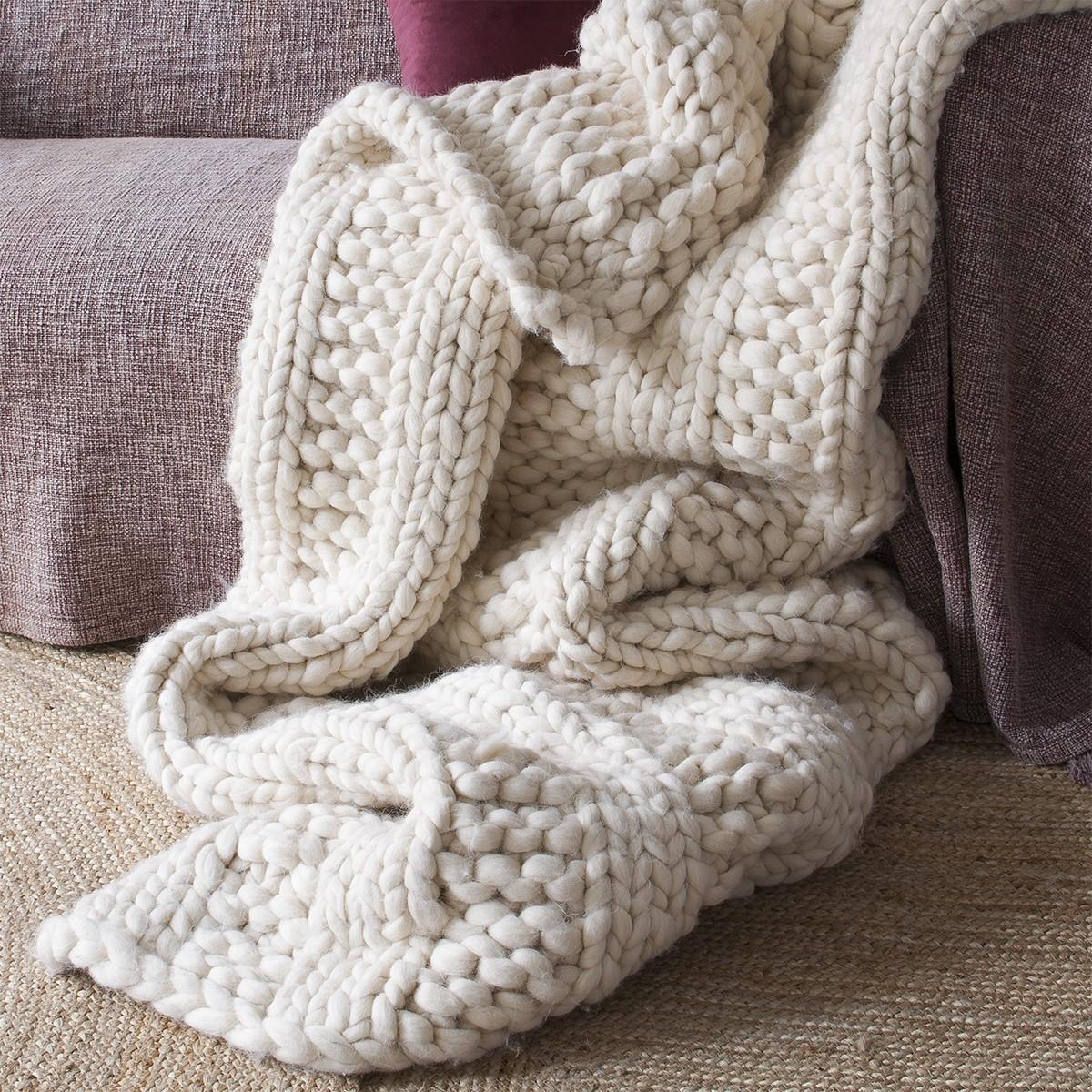 Plaid de lana gruesa beige