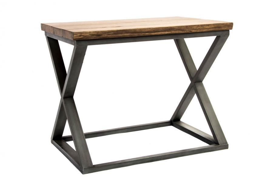 Mesa auxiliar de madera y met lica industrial for Mesa industrial de madera y metal