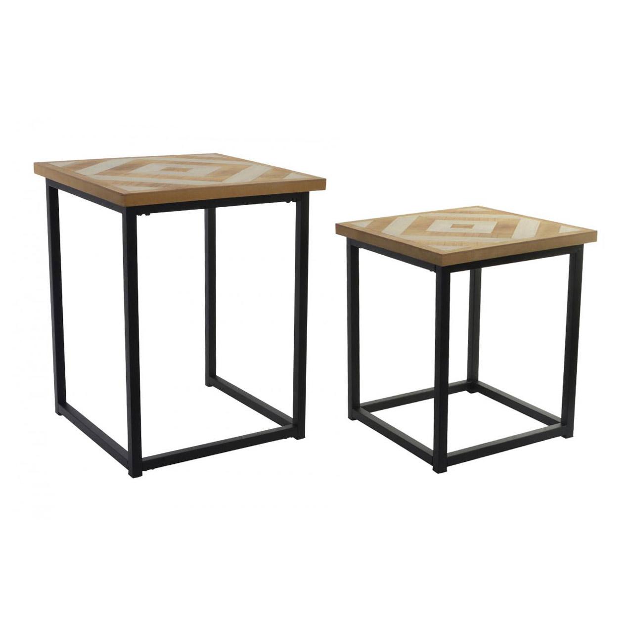 Set 2 mesas auxiliares industriales hierro y madera - Mesas madera y hierro ...