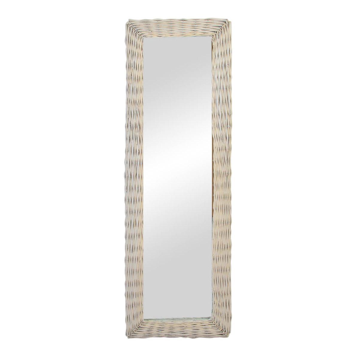 Espejo rectangular estrecho mimbre blanco - Espejos de mimbre ...