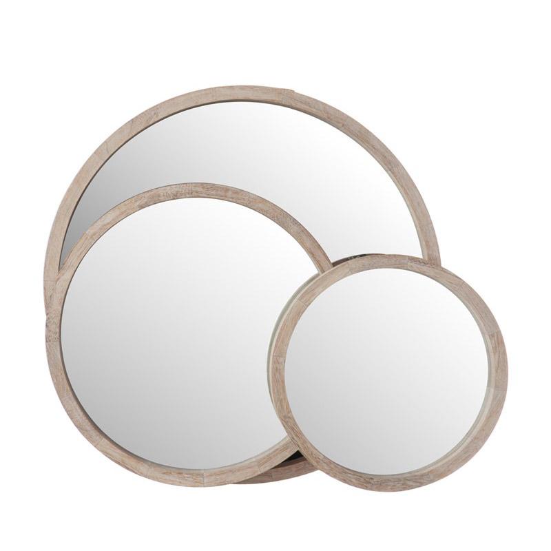 Espejos redondos madera blanca lavada dos tama os medidas - Espejos redondos pequenos ...