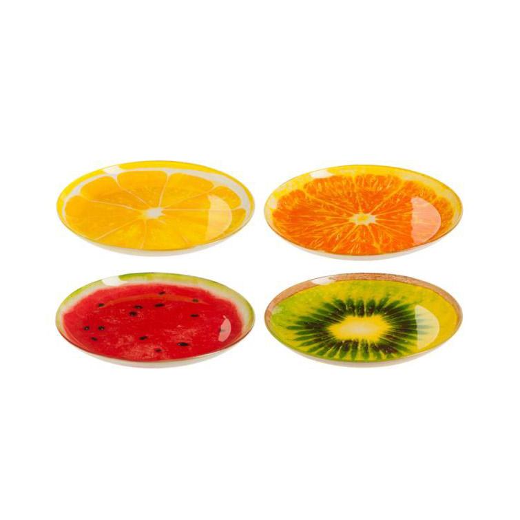 Plato de postre de cristal estampado frutas